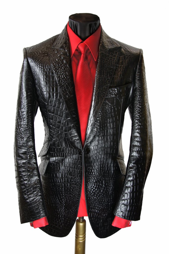 79e2ab20a Embossed Croc Leather Jacket