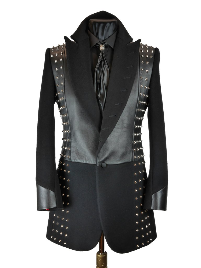 Studded Leather Frock Coat Sir Tom Baker